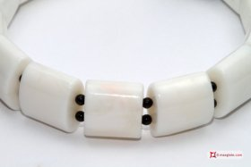 White Coral Bracelet beads and black onyx