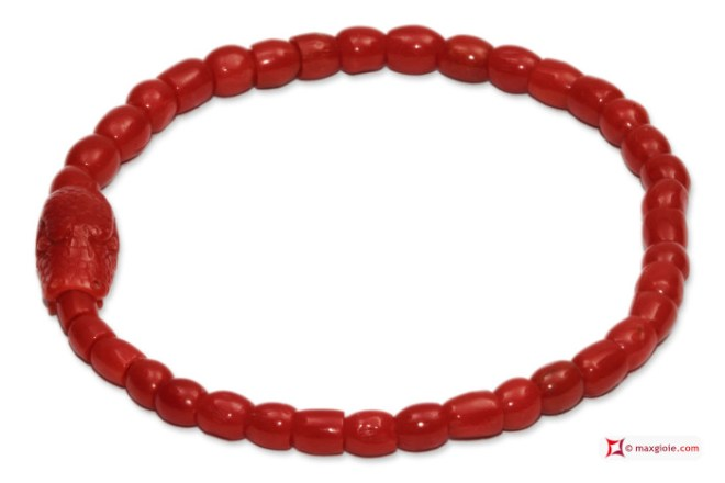 Mediterranean Red Coral Extra Bracelet snake carved in Gold 18K
