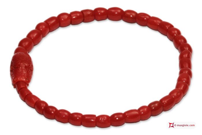 Mediterranean Red Coral Extra Bracelet snake carved in Gold 18K