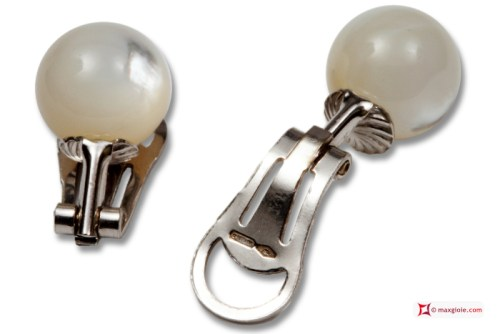Extra Mother of Pearl Earrings 10mm in Gold 18K clip