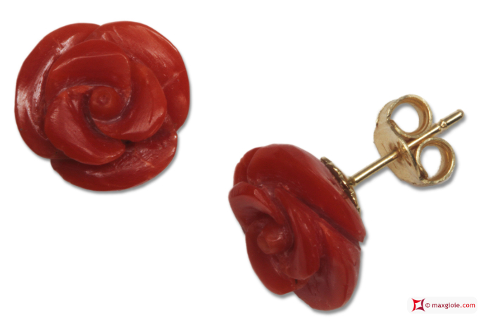 Extra Red Coral Earrings rose 11½mm in Gold 18K [various clasps]