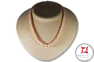 Extra Pink Coral Angel Skin Necklace round beads 6-10mm in Gold 18K
