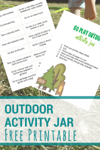 Kids Printable | For families who want to spend more time outside. Try these outdoor activity jar ideas to get the play started.