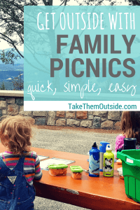 two girls eating lunch at a picnic table, text reads get outside with family picnics