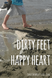"boy walking along the beach barefooted. text reads ""dirty feet happy heart"""