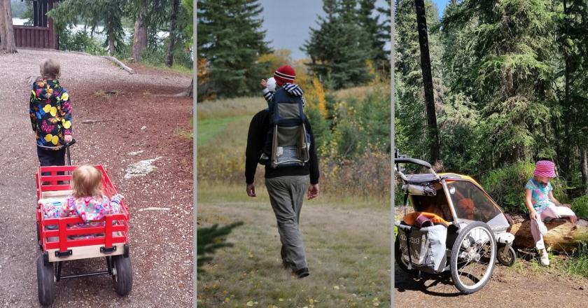 A collage of outdoor gear for carrying children, a wagon, a child carrier backpack, and an all-terrain chariot stroller