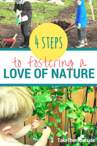 kids gardening and picking blueberries, text reads 4 steps to fostering a love of nature