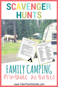 am image of some elk in a campground, text reads scavenger hunts, family camping printable activities