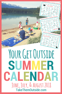 A family having a picnic on the beach and images of summer planner calendars, text reads your get outside summer calendar