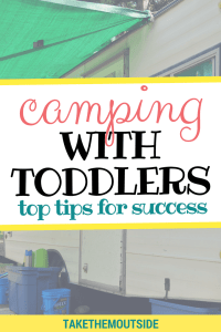 a vintage camper door and green tarp, text reads camping with toddlers top tips for success