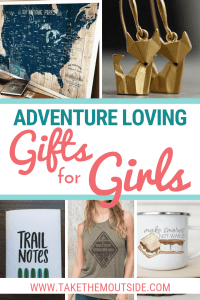 A collage image of gift ideas for adventure loving girls (a large map, fox earring, a trail journal, adventure top, and camping mug)
