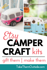 knitted camper and paper camper kit available on Etsy