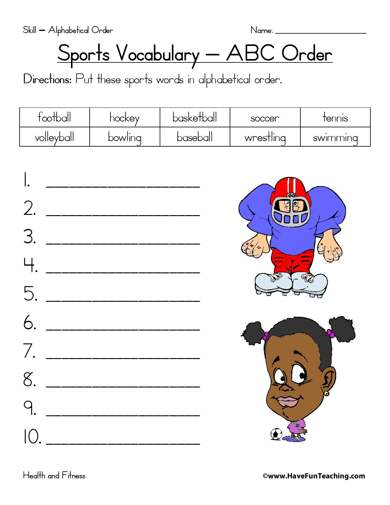 Sports Alphabetical Order Worksheet Page 001