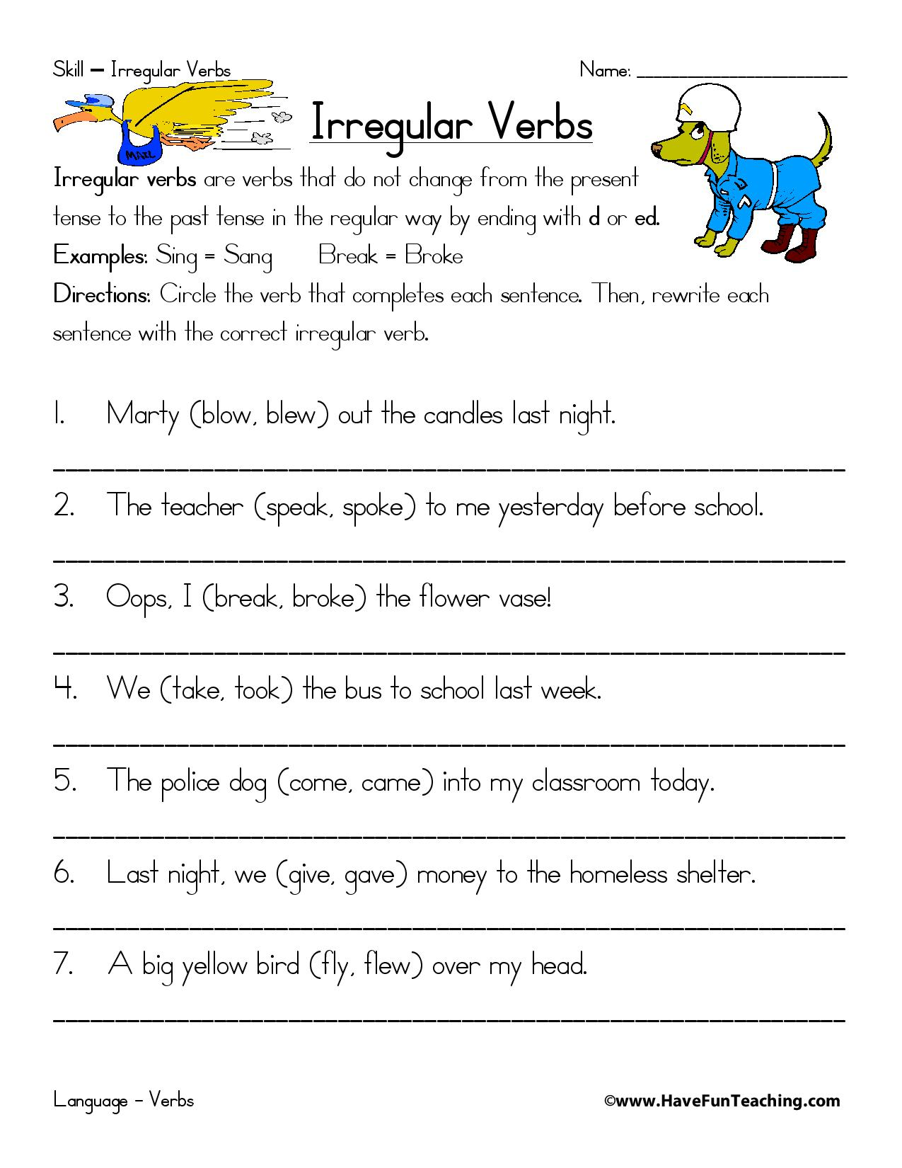 Irregular Verbs Worksheet Take The Pentake The Pen