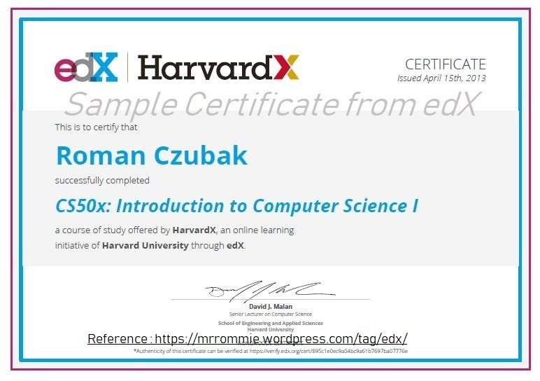 edX Sample Certificate