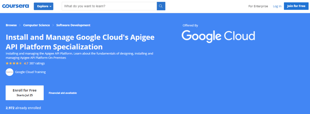 Install and Manage Google Cloud's Apigee API Platform Specialization