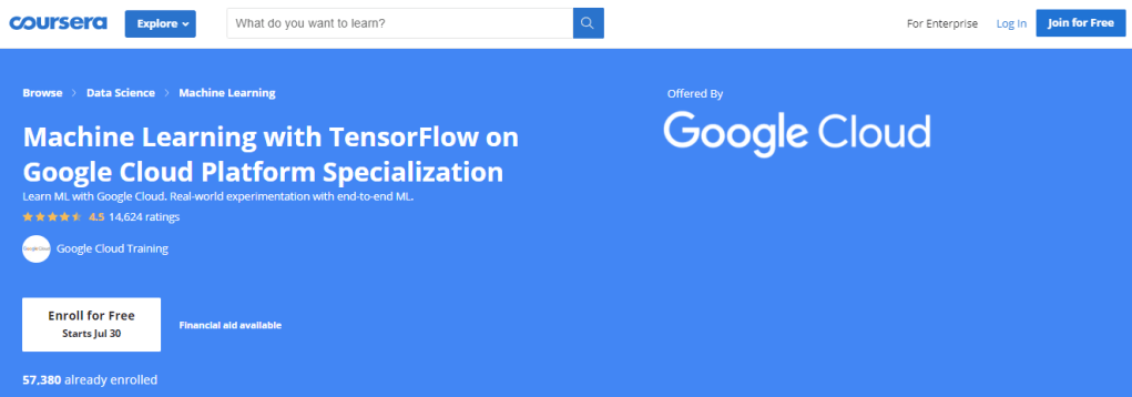 Machine Learning with TensorFlow on Google Cloud Platform Specialization