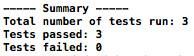 Summary of unit tests