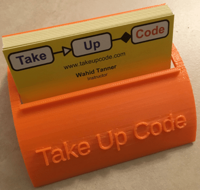 Take Up Code business card holder.