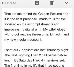 Email golden resume praise