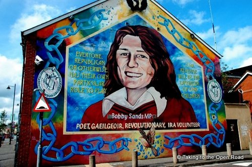 2 days in belfast murals bobby sands IRA taking to the open road peggy tee