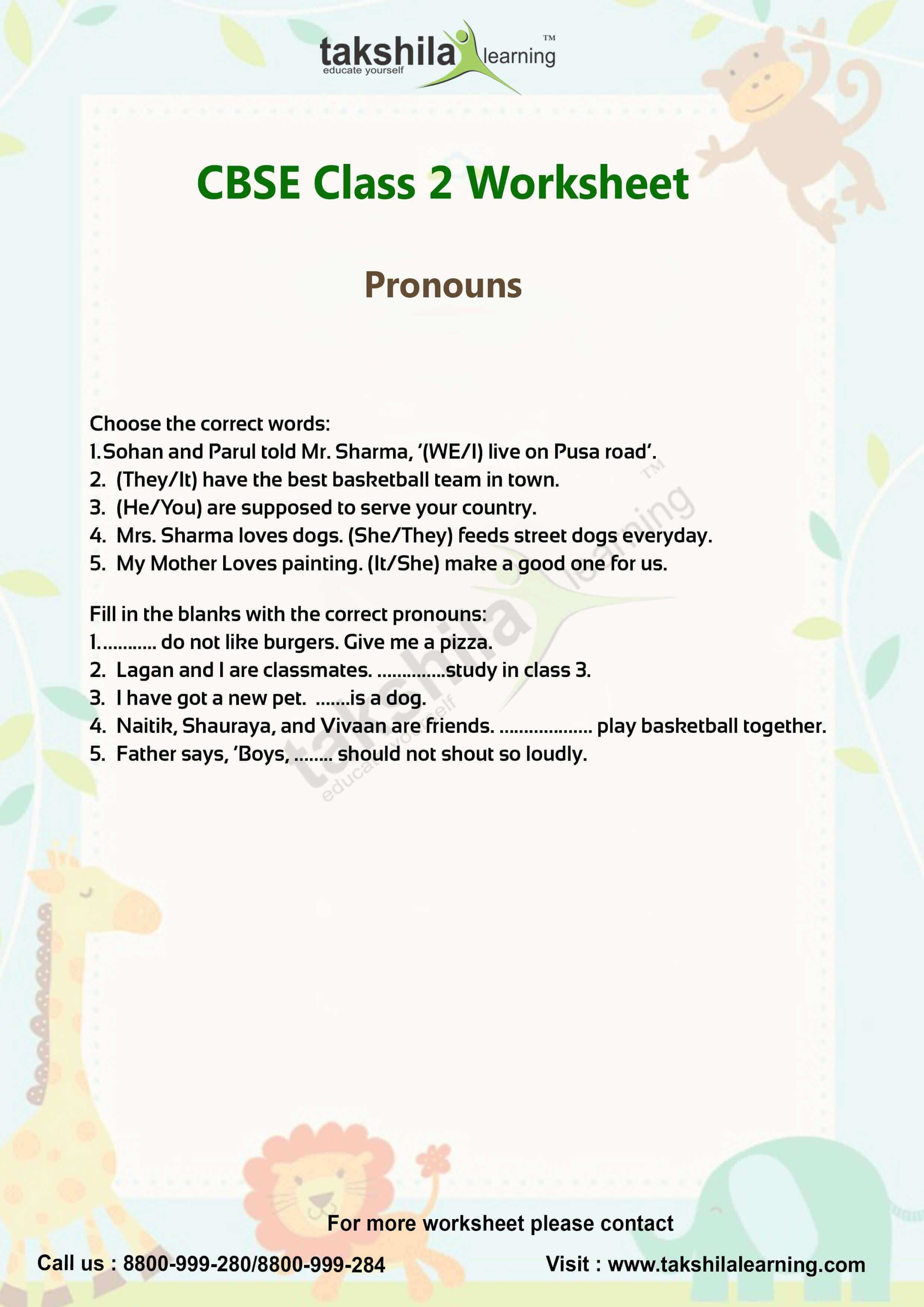 Cbse Class 2 English Worksheets For Pronoun Amp Video Classes