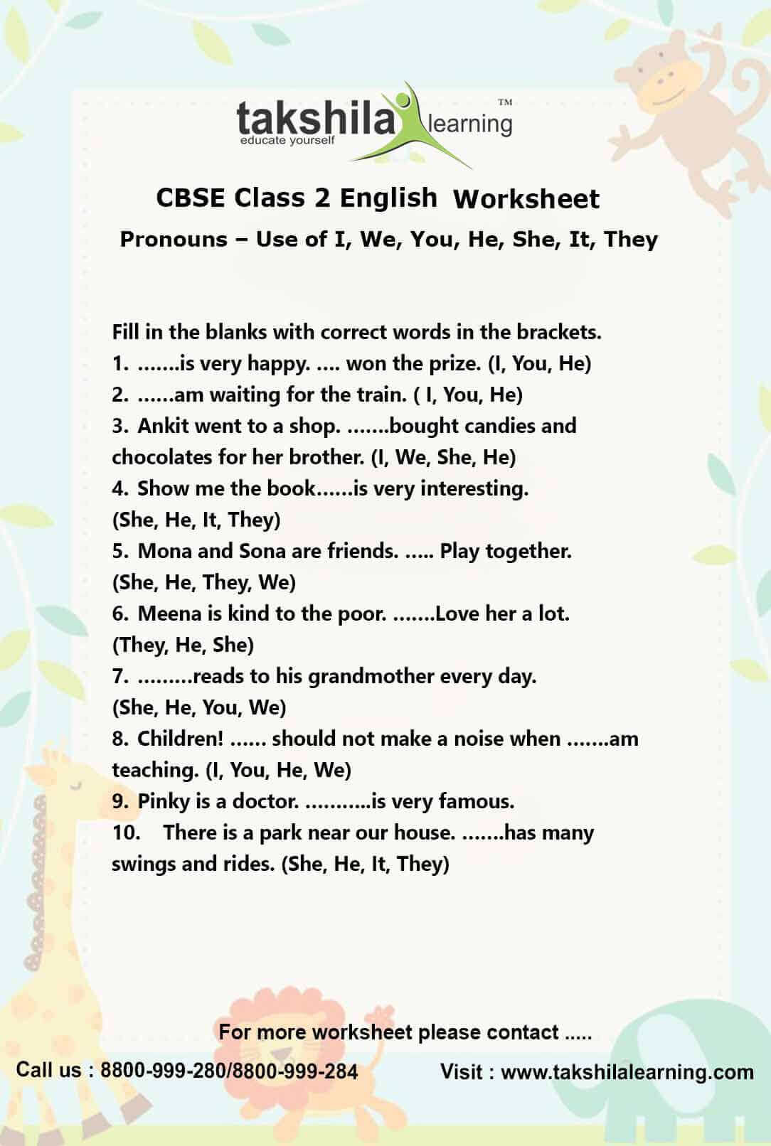 Ncert Amp Cbse Class 2 English Use Of Pronouns Practice Worksheet