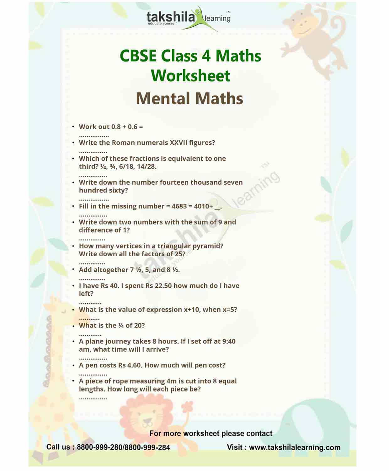 Ncert Amp Cbse Class 4 Maths Practice Worksheet Mental Maths
