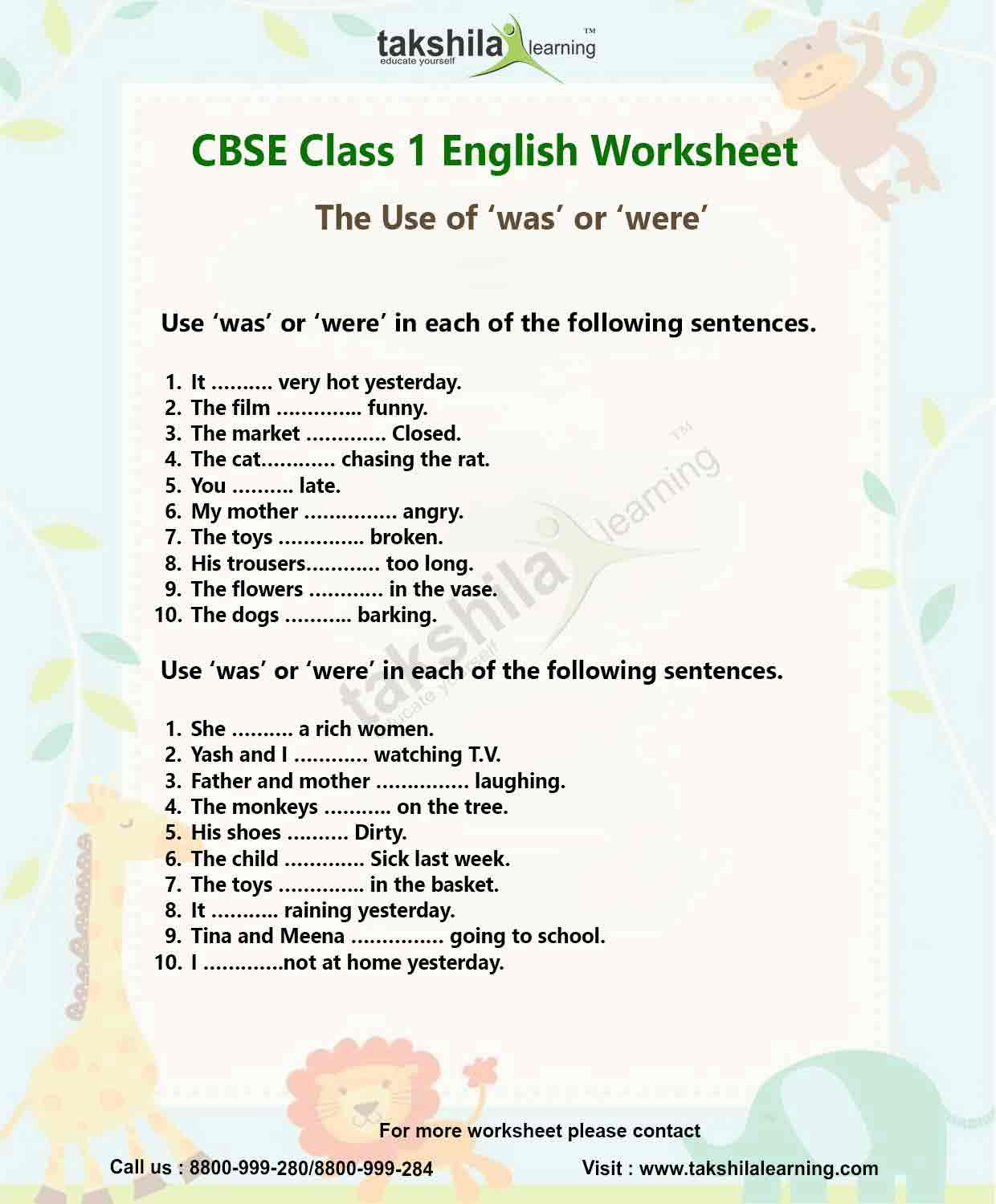 A An The Worksheet For Class 1