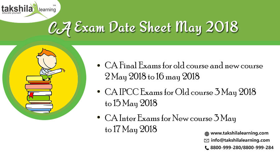 ICAI - CA Exam Date Sheet May 2018 – Old & New Course