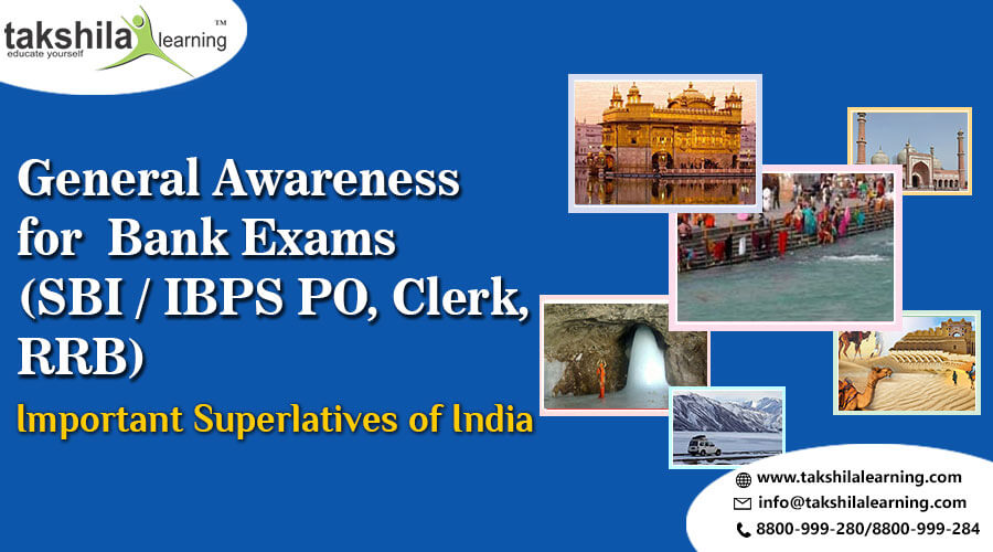 Important Superlatives in India General Awareness for Bank Exams