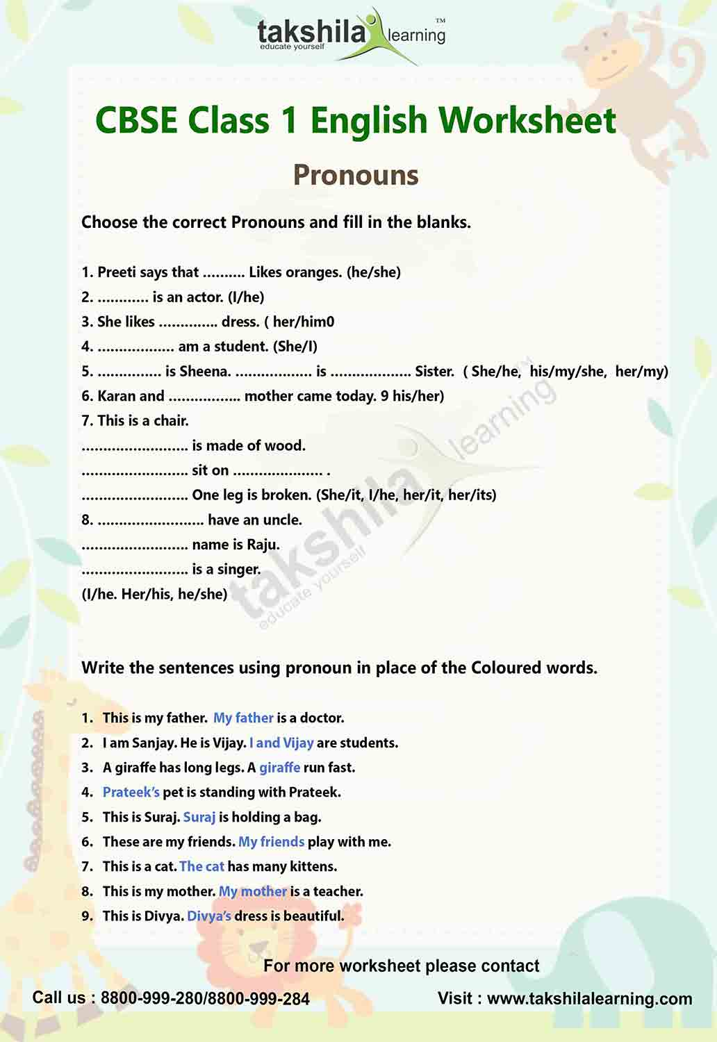 English Grammar Worksheet For Class 5