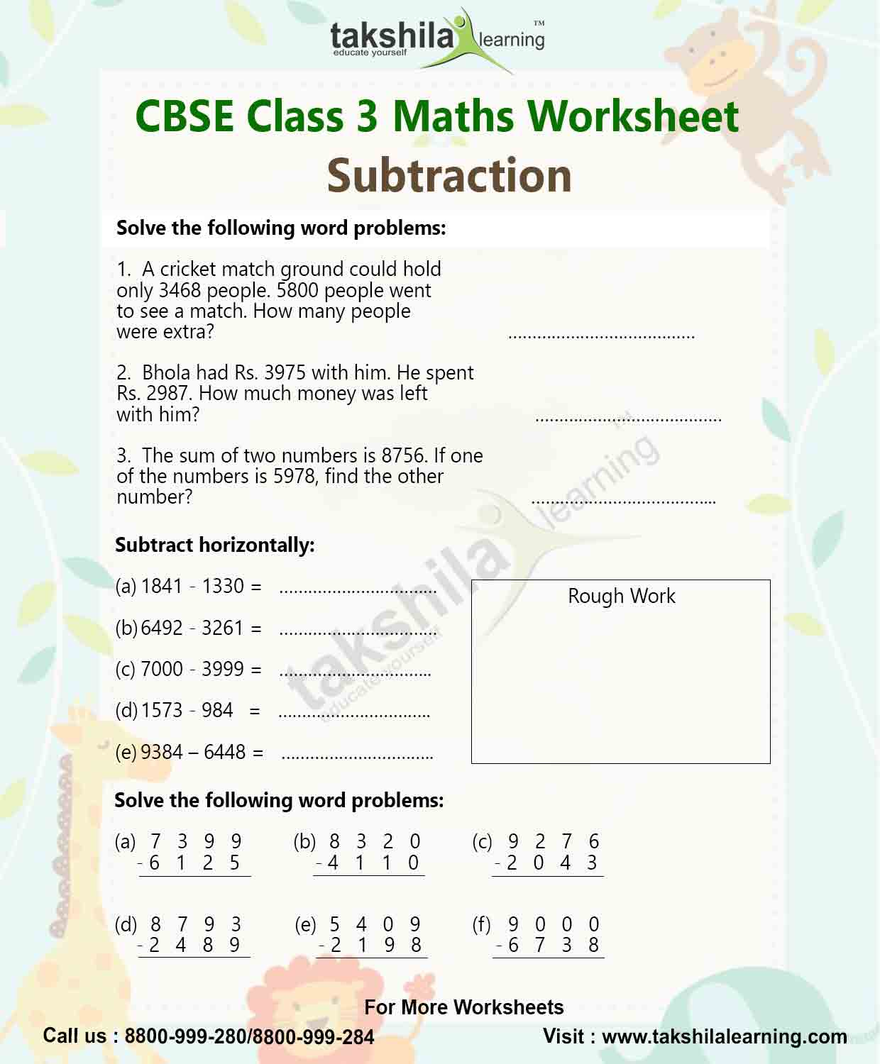 Class 3 Maths Worksheet For Practice Subtraction