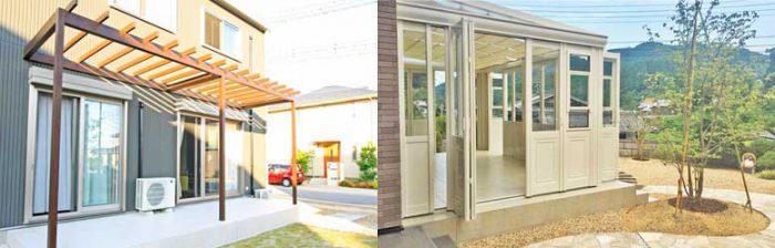 自転車置き場や物干し、お庭でのくつろぎの空間、テラス・ガーデンルーム