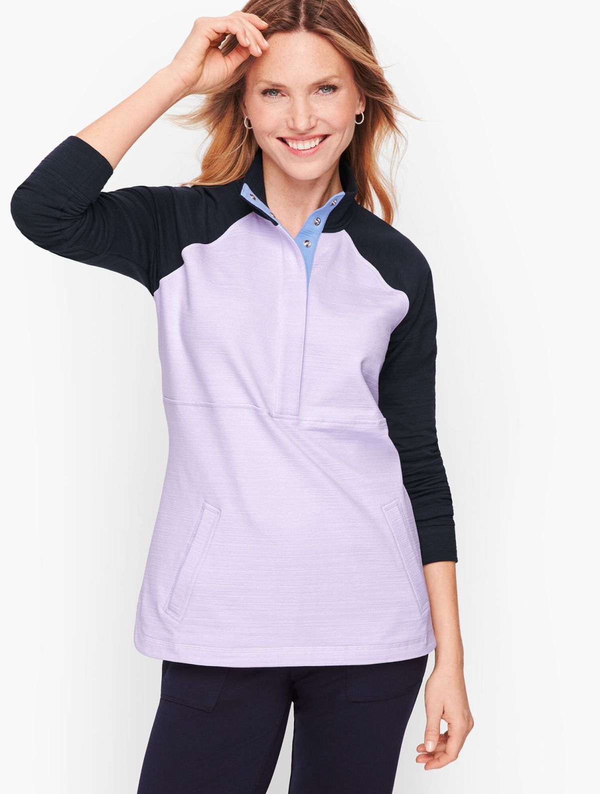 Slub Terry Long Sleeve Pullover - Colorblock
