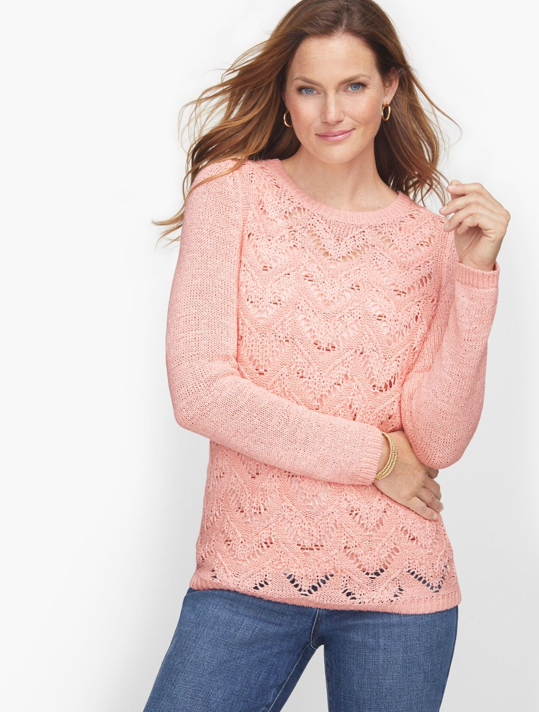 Talbots Pointelle Crewneck Sweater