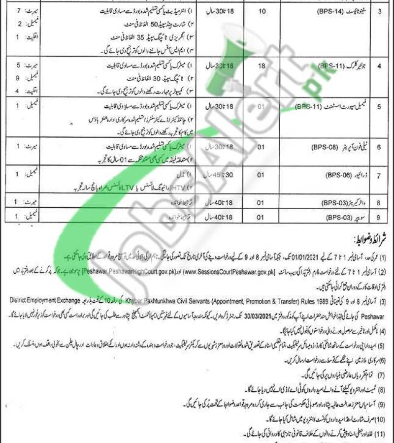 District and Session Court Peshawar Jobs 2021 Application Form Download