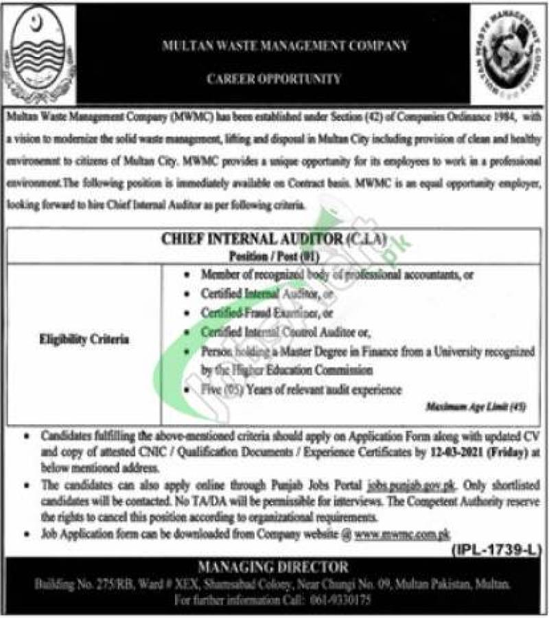Multan Waste Management Company MWMC Jobs 2021 Current Opportunities