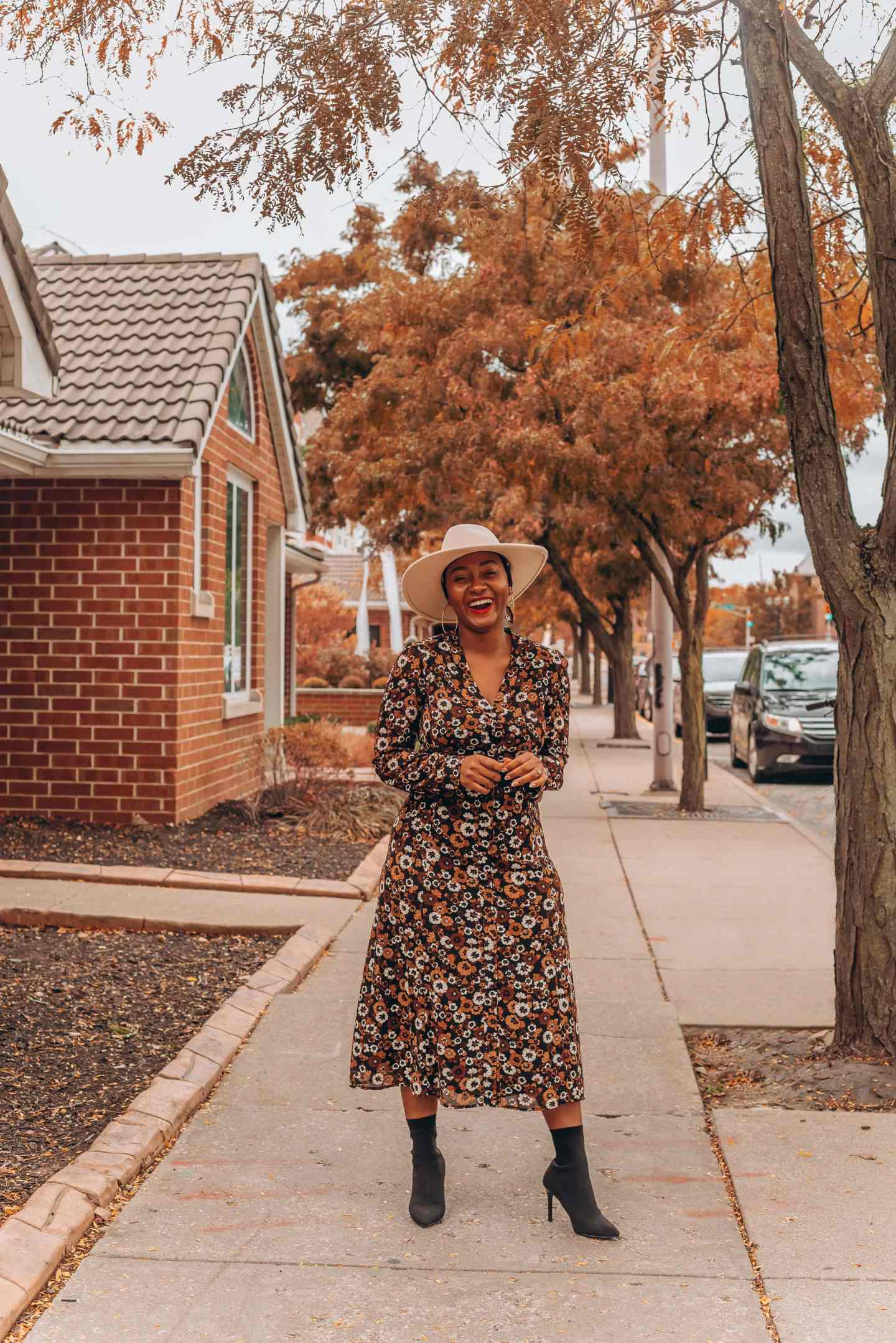 Fall dress outfit featured by top Indianapolis life and style blogger, Tales and Turbans: image of a woman wearing a Stitch Fix floral maxi dress and Zara boots.