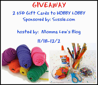 Enter to win 1 of 2 $50 Hobby Lobby Gift Cards! Ends 12/2