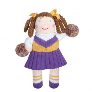 zubels-100-percent-cotton-hand-knit-purple-gold-cheerleader-baby-toy-300x300