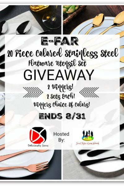 E-far 20 Piece Colored Stainless Steel Flatware Utensil Set Giveaway