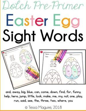 Dolch Pre-Primer Easter Egg Sight Words