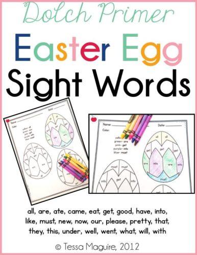 Dolch Primer Easter Egg Sight Words