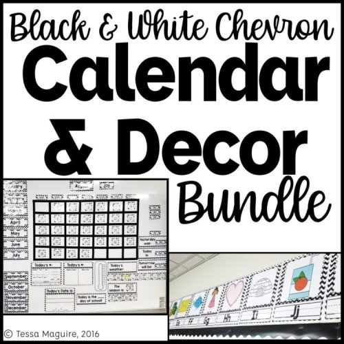 Black & White Chevron Classroom Calendar and Classroom Decor bundle