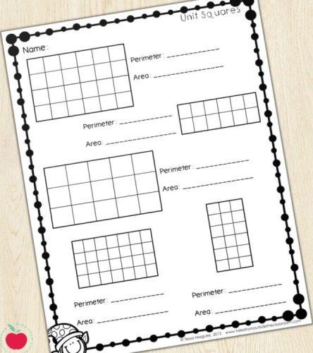 Unit squares worksheet