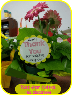 Tag for using flowers as thank you gifts at the end of the school year.