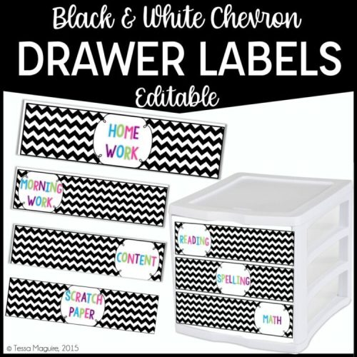 Black and White Chevron Drawer Labels