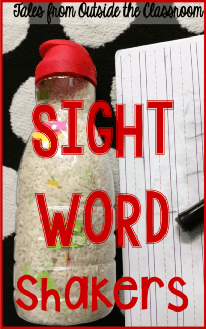 Create sight word shakers using old creamer bottles to help students practice sight words.