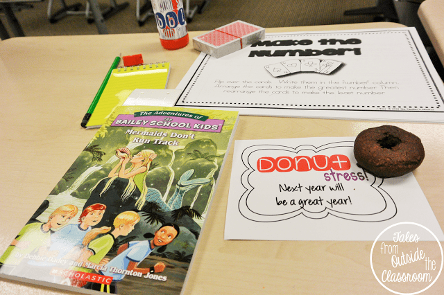Student gifts from teachers: personalized bookmark, book, deck of cards, math resource, bubbles, memo book, pencil and sharpener